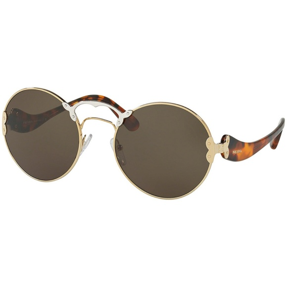 f71b1b365b07 Prada Sunglasses Pale Gold Silver w Green